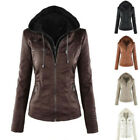 Winter Womens Slim Leather Hooded Jacket Parka Coat Trench Outwear Oversized