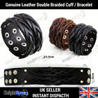 Wide Cuff Genuine Leather Bracelets Wristband for men or women Braided Studden