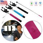 Extendable Monopod Wired Selfie Stick Holder Remote Shutter For iPhone Samsung