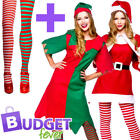 Christmas + Tights Ladies Fancy Dress Xmas Festive Winter Womens Adults Costumes