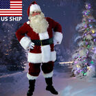 USA! Santa Claus Suit Adult Christmas Costume Fancy Dress Deluxe Velvet Full Set