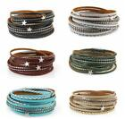 Men Women Star Multi-layer Leather Bracelet Braided Bangle With Magnetic Clasp