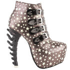 Punk Star Print Buckle Strappy Stud Bone Heels Hidden Platform Ankle Boots