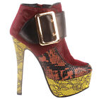 Show Story Punk Buckle Animal-Print Platform Stiletto Ankle Bootie Boots