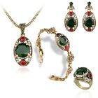 Gold Plated Cleopatra Style Designs Emerald Women's 4 Pc Fashion Jewelry Set Hot