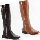 NEW WOMENS LADIES SIDE ZIPS MIDCALF DESIGNER LONG WINTER BOOTS SIZE 4 5 6 7 8
