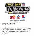 MUT Pack: All Madden Pack code for Madden NFL 18 EA sports Playstaion 4 Xbox