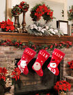 Personalised or plain LUXURY PLUSH LINED RED Christmas XMAS Stocking