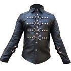 LEATHER Police Uniform Mens Hot Genuine Real Black Shirt BLUF Gay sheep lamb