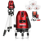 360° Self Leveling 5-Line 6-Point Rotary Laser Level Measure Tripod Stand Kit