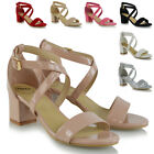 WOMENS STRAPPY SANDALS BLOCK LOW HEEL LADIES ANKLE STRAP PARTY EVENING SHOES 3-8