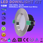 12X16W LED DOWNLIGHTS KIT DIM RECESSED SATIN CHROME WARM/DAYLIGHT OR COOL WHITE