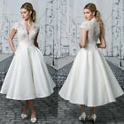 Tea Length Wedding Dresses Short Sleeve V Neck Lace Satin Bridal Gown Custom