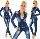 Women's Studded Shoulder Long Sleeve Denim Jeans Jumpsuit Overall - XS/S/M/L/XL
