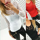 Women Summer Lace V-neck Long Sleeve Ladies Shirt Top Stretch Casual Blouse Top