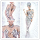 Hot Sexy Women Silver Sequins Pageant Diamonds Party Fancy Dress Rihanna Costume