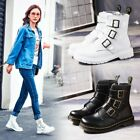 Women Punk Buckle Faux Leather Round Toe Ankle Boot Shoes Motorcycle Biker New