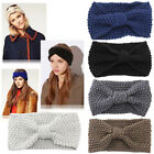 Women Hair Band Winter Headband Fashion Niblet Crochet Bow Knitted Solid Cute