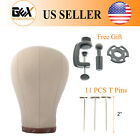 GEX Cork Canvas Block Head Mannequin Head with Mount Hole White&Clamp&T Neesdles