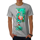 Wellcoda Flamingo Bird Letter Mens T-shirt, Paradise Graphic Design Printed Tee