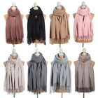 Women Wool Blend Long Warm Scarves Soft Wrap Scarf Tassels Winter Warm Shawl