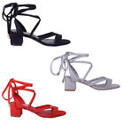 Women Ladies Lace Up Ankle Wrap Tie Low Mid Flared Block Heels Sandal Shoe Size