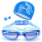 Unisex Swimming Goggles Swim Cap Ear Plugs Nose Clip Anti-Fog UV Protection