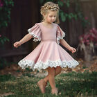 Cute Princess Kids Baby Girl Dress Lace Floral Party Dress Casual Solid Dresses