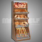 Wooden Bakery Bread Stand with Canopy Supermarket Shelves