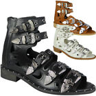 Womens Buckle Gladiator Sandals Ladies Strappy Cutout Studded Flat Shoes Size