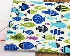 Under water fish 100% Cotton Oxford fabric / All sizes Home decor fishes  JB22-