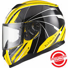 Black Titan Hornet Hi-Vis Yellow Motorcycle Helmet Motorbike Commuter Crash Lid