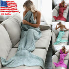 Mermaid Tail Blanket Teens Adults Bedding Wrap Warm  Soft Knitting Blanket US OY image