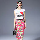 Women's New Arrival 2018 Spring Runway Printed White Tops & Skirt Outfit 1711048