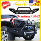 Stubby Front Bumper Winch Plate w/ 5 LED Llights For Jeep Wrangler JK 2007-2017