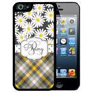PERSONALIZED RUBBER CASE FOR iPHONE X 8 7 6S SE 5C 5S PLUS DAISY GRAY PLAID