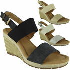 Womens Slingback Wedges Ladies Espadrilles Comfy High Heel Buckle Shoes Size