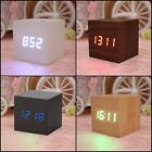 Modern Wooden Wood Cube Design Digital LED Desk Alarm Clock Voice Control Timer