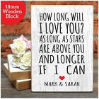 PERSONALISED Valentines Gifts How Long Will I Love You - Wooden Block Present