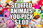 Stuffed Plush & Beanbag Figures, Characters and Animals $1 You Pick