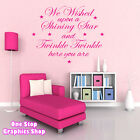 WE WISHED UPON A STAR WALL ART QUOTE STICKER - BEDROOM KIDS BABY LOVE DECAL