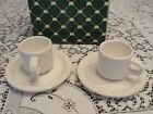 BARNIE'S SET OF 2 ESPRESSO WHITE COFFEE CUPS AND SAUCERS