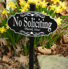 NO SOLICITING Garden Sign, Permanently Laser Engraved -- FREE SHIPPING