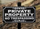 PRIVATE PROPERTY NO TRESPASSING Lawn Sign -- FREE SHIPPING