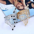 Women Fashion Gold Silver Plated Angel Wings Crystal Bracelet Bangle Cuff Gift