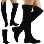 WOMENS LADIES THIGH HIGH OVER THE KNEE BOOTS LONG LOW HEEL STRETCH SHOES SIZE