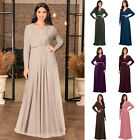KOH KOH Long Sleeve VNeck Flowy Elegant Winter Fall Maxi Dress Gown Abaya Kaftan