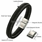 "Mens Braided Leather Stainless Steel Magnetic-Buckle Bracelet Fit 8""-8.5"" Wrist"