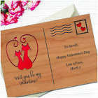 PERSONALISED Will You Be My Valentine Love Cats Wooden Postcard Gift for Him Her