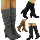 Womens Boots Zip Rouched Mid Calf Knee High Heel Boots New Ladies Shoe Size